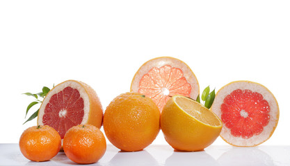 set of citrus fruit on white background