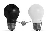 Black light bulb and white one handshaking isolated poster