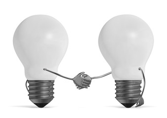 White light bulbs handshaking isolated