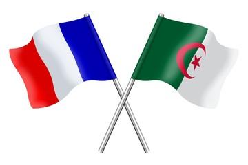 Drapeaux : France et Algérie