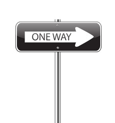 One way black traffic sign