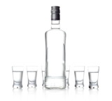 Bottle and glasses of vodka standing isolated on white