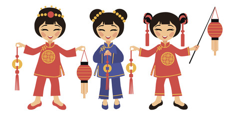 Three Chinese women with lanterns and with coins of happiness