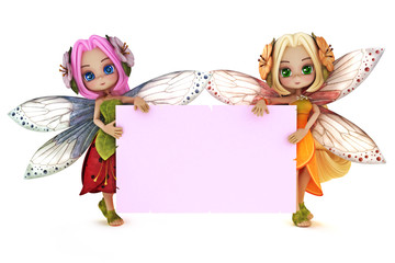 Two cute Fairy's holding a blank pink advertisement card