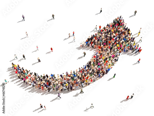 Large group of people symbolizing direction , progress,growth.