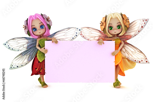 Two cute Fairy's holding a blank pink advertisement card - 66748245