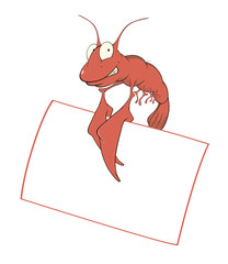 Red shrimp with the empty blank cartoon
