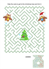 Maze game - owls trim the christmas tree