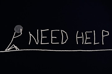 Desperate call for help, person needing help, unusual concept