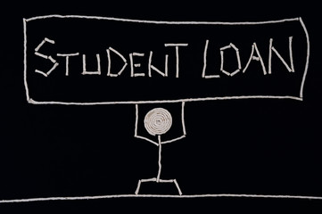 Student holding student loan, carrying the weight of a loan