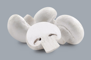 Three whole white mushrooms and slice isolated on grey backgroun