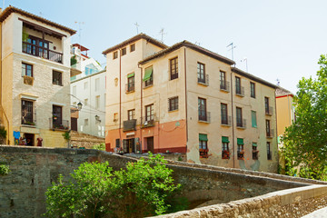 Old street (Carrera del Darro) in Granada,  Andalusia, Spain.