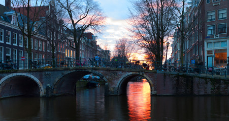 Herengracht at sunset,  Amsterdam, Netherlands