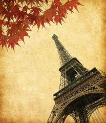 Eiffel Tower in autumn, Paris, France.  Added  paper texture.