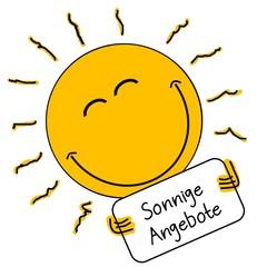 Sonne verkündet sonnige Angebote