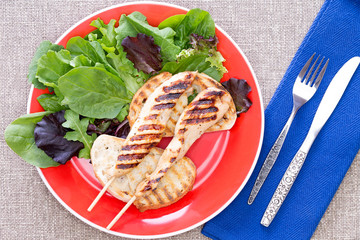 Grilled chicken meat on stick with vegetables