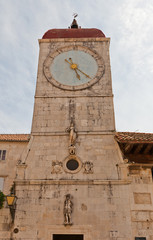 Clock tower of St Sebastian church (1476). Trogir, Croatia