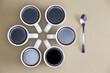 Decorative design of coffee mugs on beige