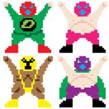 masked wrestler pixel art