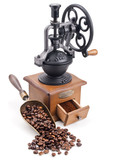 retro coffee grinder with scoop of roasted coffee beans