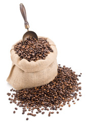 sack of coffee beans with retro scoop isolated on white