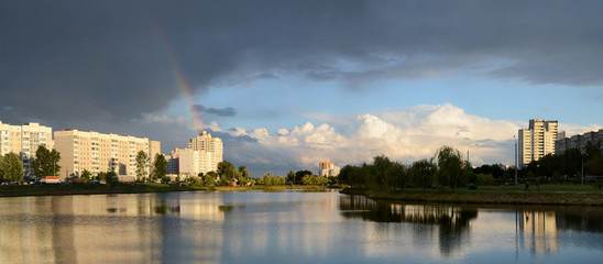 Rainbow over  Gomel summer evening