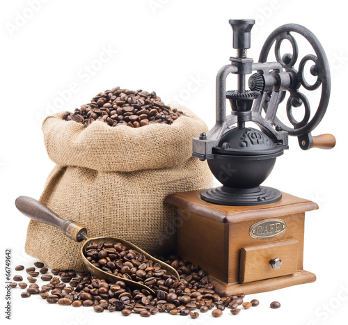 sack of coffee beans with retro grinder isolated on white