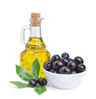 canvas print picture - olive oil and black olives with leaves