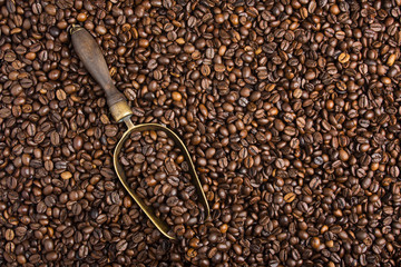 background with coffee beans and retro scoop