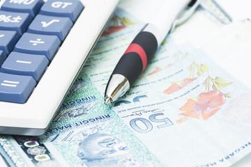 Pen on bank notes - financial concept