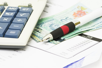 Pen on bank statement, a wealthy investment - financial concept