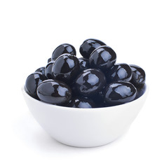 white ceramics bowl with black olives