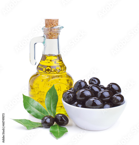 canvas print picture olive oil and black olives with leaves