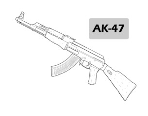 Weapon AK-47 - vector illustration.