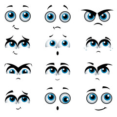 Cartoon faces with various expressions