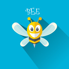 vector bee flat icon with long shadow