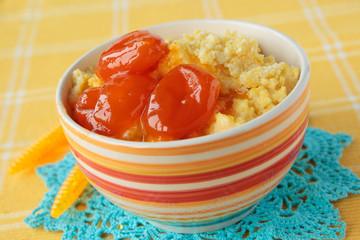 Maize porridge with apricot jam