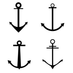 anchor four icon vector silhouette