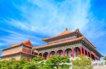 Beautiful traditional chinese temple with blue sky at Wat Leng-N