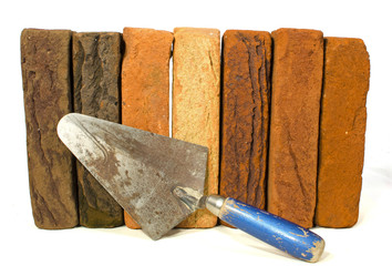 Row of bricks with a trowel