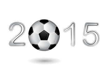 Soccer ball in 2015 digit on white