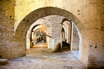 Passage way inside of Gjirokaster Citadel,  Albania.