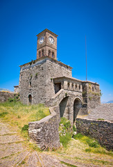 Clock Tower on the Gjirokaster Castle, Albania.