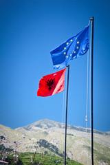 Albanian and EU Flags on the Gjirokaster, Albania.