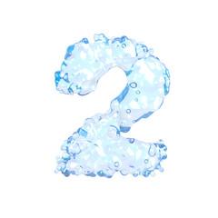 Fresh water alphabet on white (number 2)
