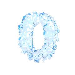 Fresh water alphabet on white (number 0)