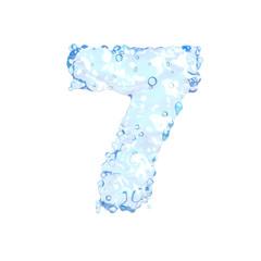 Fresh water alphabet on white (number 7)