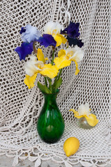 still life bouquet with iris