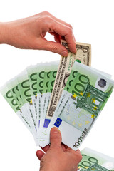 One Dollar and banknotes 100 euros