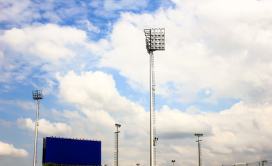 The Stadium Spot-light tower over Blue Sky, Nakhonratchasima, Th